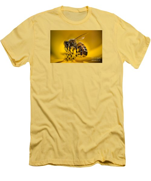 Bee Enjoys Collecting Pollen From Yellow Coreopsis Men's T-Shirt (Athletic Fit)