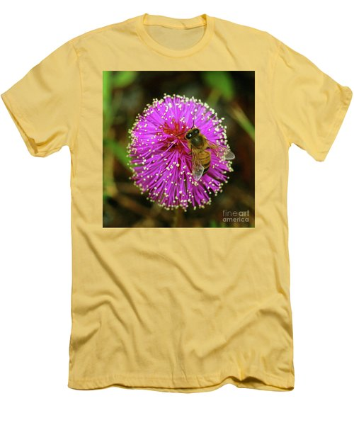Bee On Puff Ball Men's T-Shirt (Slim Fit) by Larry Nieland