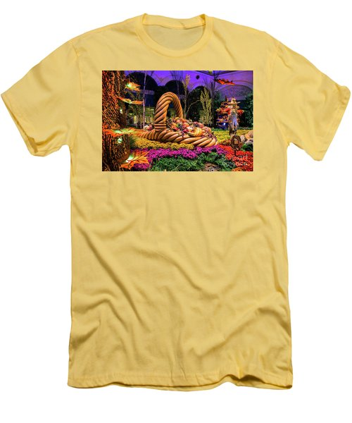 Bellagio Harvest Show Basket And Scarecrow 2016 Men's T-Shirt (Slim Fit) by Aloha Art