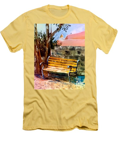Bench At Waterfront Park Men's T-Shirt (Athletic Fit)