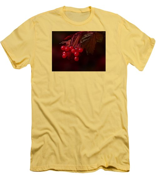 Men's T-Shirt (Slim Fit) featuring the photograph Berry Red by Judy  Johnson