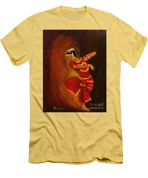 Men's T-Shirt (Slim Fit) featuring the painting Bharatnatyam Dancer by Brindha Naveen