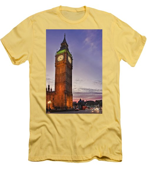 Men's T-Shirt (Slim Fit) featuring the photograph Big Ben Twilight In London by Terri Waters