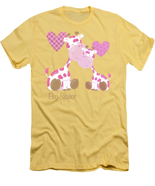 Big Sister Cute Baby Giraffes And Hearts Men's T-Shirt (Slim Fit) by Tina Lavoie