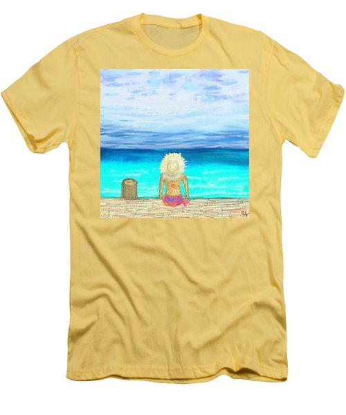 Bikini On The Pier Men's T-Shirt (Slim Fit) by Jeremy Aiyadurai