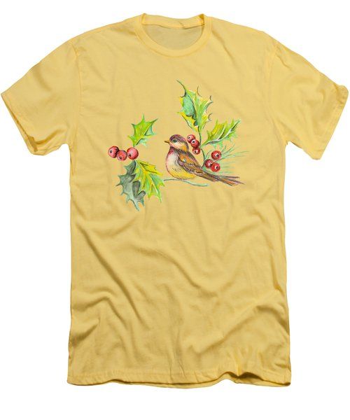 Bird Holly And Berries Men's T-Shirt (Athletic Fit)