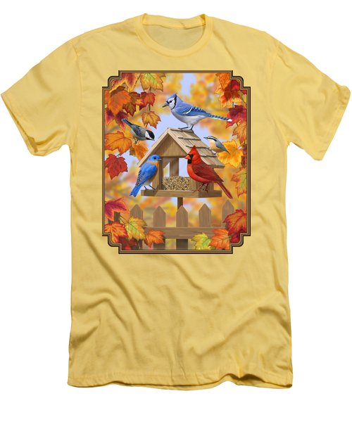 Bird Painting - Autumn Aquaintances Men's T-Shirt (Slim Fit) by Crista Forest