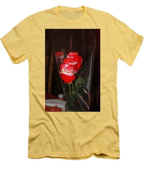 Men's T-Shirt (Athletic Fit) featuring the photograph Birthday Roses by Vadim Levin