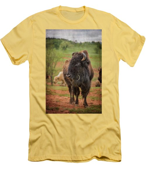 Men's T-Shirt (Athletic Fit) featuring the photograph Bison 5 by Joye Ardyn Durham