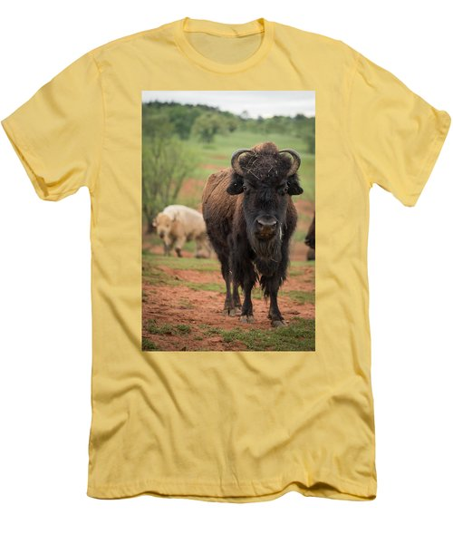 Men's T-Shirt (Athletic Fit) featuring the photograph Bison 6 by Joye Ardyn Durham