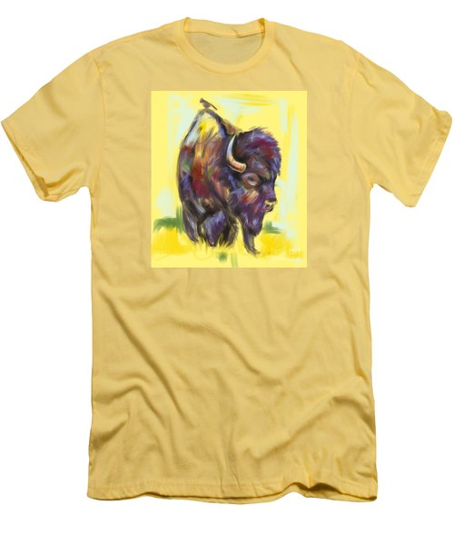 Men's T-Shirt (Slim Fit) featuring the painting Bison And Bird by Go Van Kampen