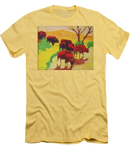 Bison Art Bison Crossing Stream Yellow Hill Painting Bertram Poole Men's T-Shirt (Slim Fit) by Thomas Bertram POOLE