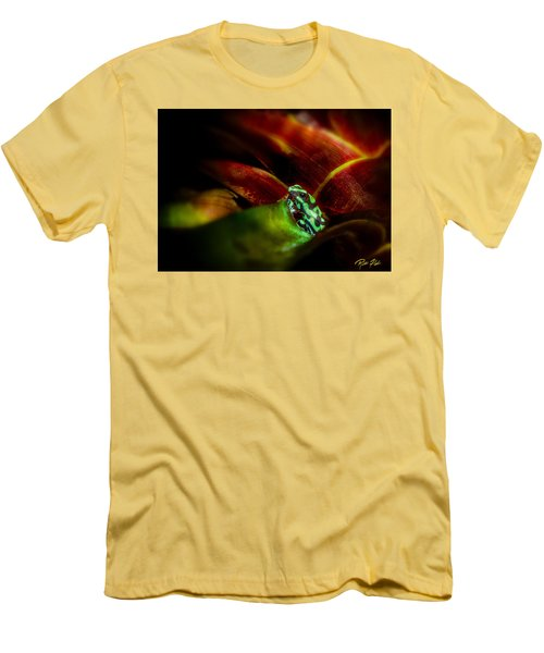 Men's T-Shirt (Athletic Fit) featuring the photograph Black And Green Dart Frog In The Red Bromeliad by Rikk Flohr