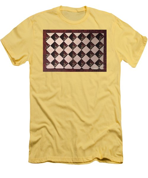 Black And White Checkered Floor Cloth Men's T-Shirt (Athletic Fit)