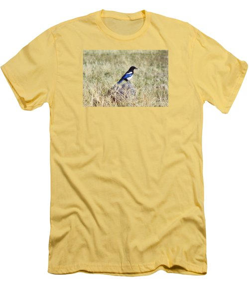 Men's T-Shirt (Slim Fit) featuring the photograph Black-billed Magpie by Janie Johnson