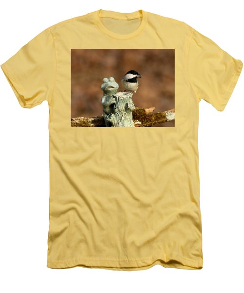 Black-capped Chickadee And Frog Men's T-Shirt (Slim Fit) by Sheila Brown