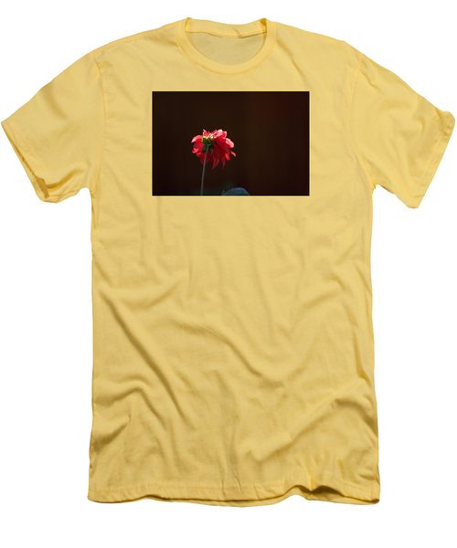 Black With Rose Men's T-Shirt (Slim Fit) by Lora Lee Chapman
