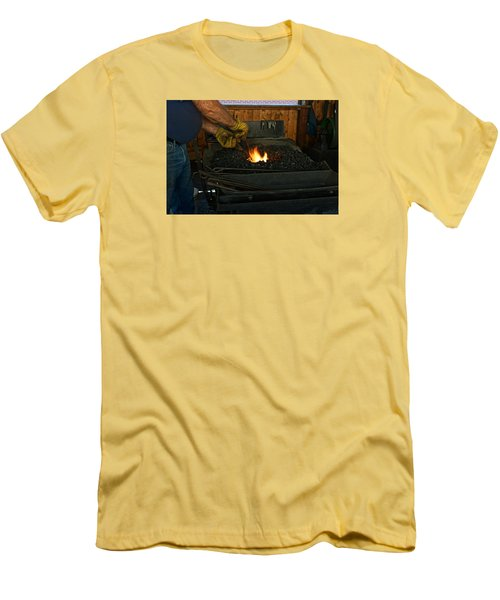 Blacksmith At Work Men's T-Shirt (Slim Fit) by Steven Clipperton