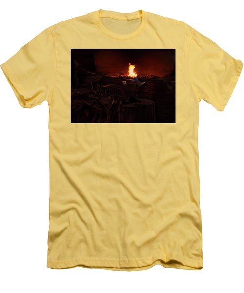 Men's T-Shirt (Slim Fit) featuring the digital art Blacksmith Shop by Chris Flees