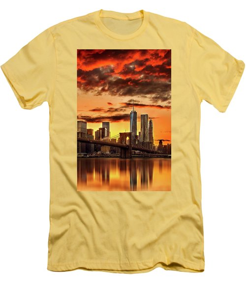 Blazing Manhattan Skyline Men's T-Shirt (Slim Fit) by Az Jackson