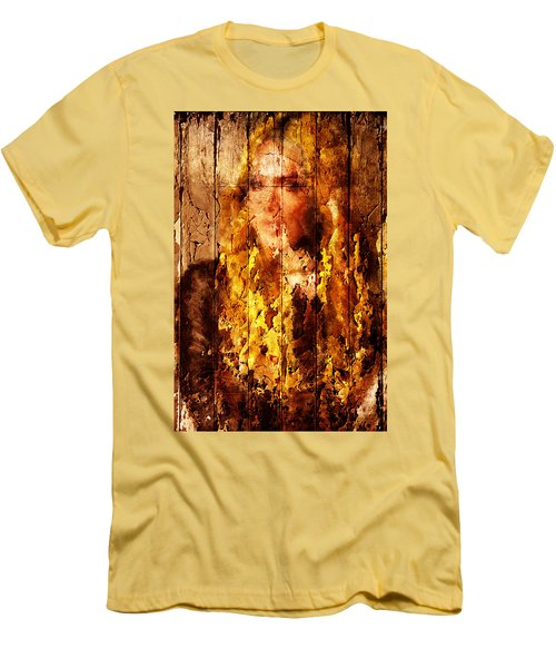 Blond Wood Inlay Men's T-Shirt (Slim Fit) by Andrea Barbieri