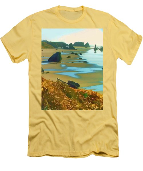 Men's T-Shirt (Slim Fit) featuring the photograph Blooming Bandon Watercolor by Wendy McKennon