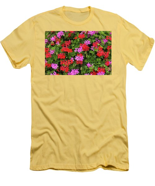 Men's T-Shirt (Slim Fit) featuring the photograph Blooming Flowers Background by Hans Engbers