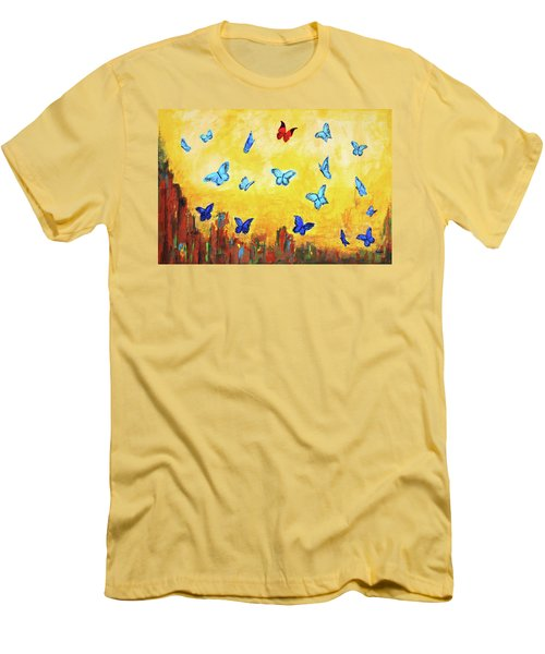 Blue And Red Butterflies Men's T-Shirt (Athletic Fit)