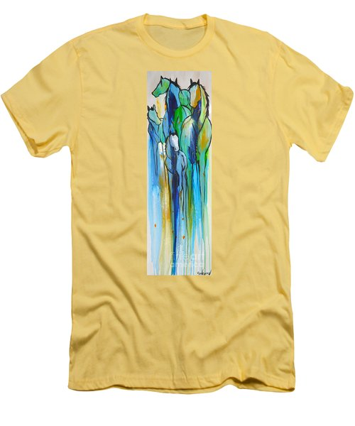 Men's T-Shirt (Slim Fit) featuring the painting Blue Drip 2 by Cher Devereaux