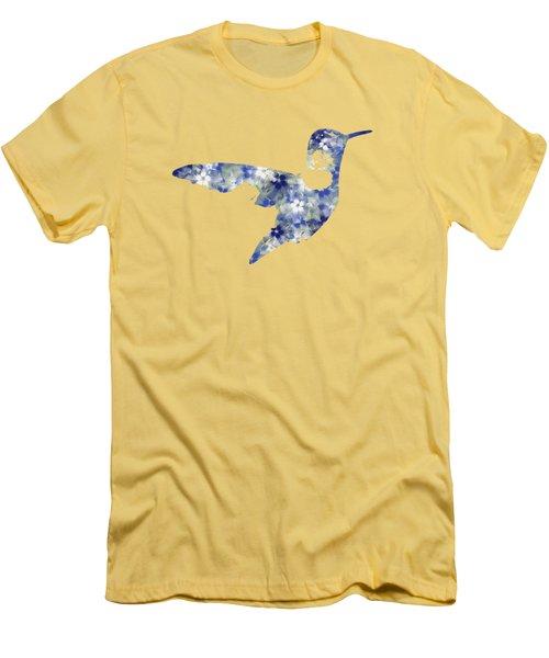 Blue Floral Hummingbird Art Men's T-Shirt (Athletic Fit)