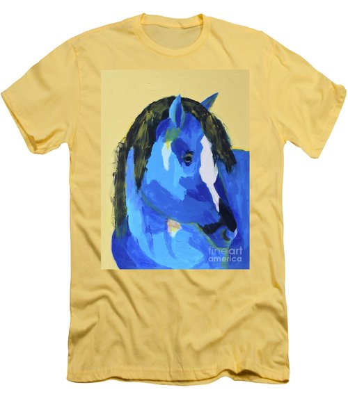 Men's T-Shirt (Athletic Fit) featuring the painting Blue Horse 2 by Donald J Ryker III