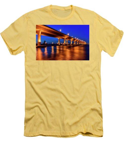 Men's T-Shirt (Slim Fit) featuring the photograph Blue Hour At Roosevelt Bridge In Stuart Florida  by Justin Kelefas