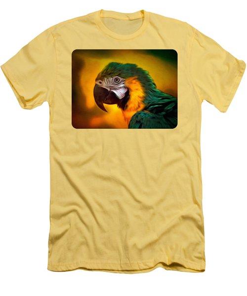 Blue Macaw Parrot Portrait Men's T-Shirt (Athletic Fit)