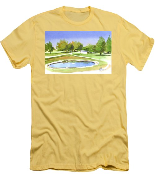 Men's T-Shirt (Slim Fit) featuring the painting Blue Pond At The A V Country Club by Kip DeVore