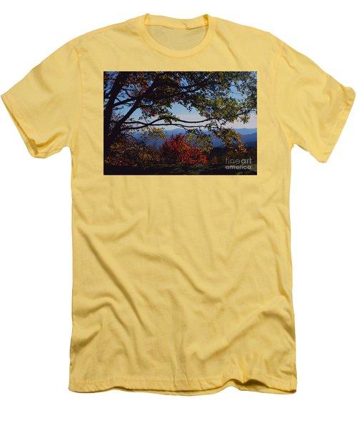 Men's T-Shirt (Slim Fit) featuring the photograph Blue Ridge Mountain View by Debra Crank