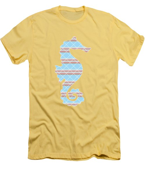 Blue Stripe Pattern Aged Men's T-Shirt (Slim Fit) by Christina Rollo