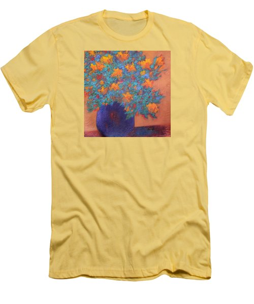 Men's T-Shirt (Slim Fit) featuring the painting Blue Vase by Nancy Jolley