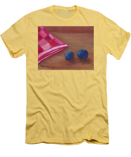 Blueberries With Red Napkin Men's T-Shirt (Slim Fit) by Patricia Cleasby