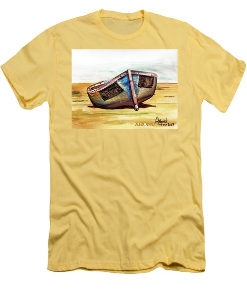Boat On Beach Men's T-Shirt (Athletic Fit)