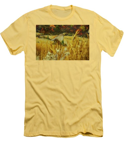 Men's T-Shirt (Slim Fit) featuring the digital art Bobwhite In Flight by Chris Flees