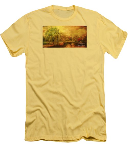Boston Common In Autumn Men's T-Shirt (Slim Fit) by Liz Leyden
