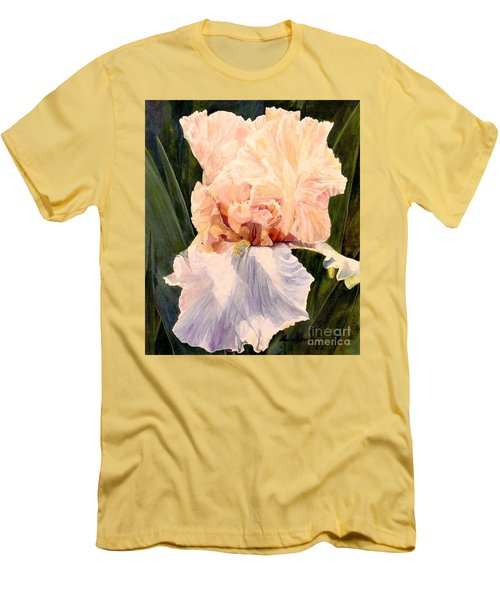 Botanical Peach Iris Men's T-Shirt (Slim Fit) by Laurie Rohner