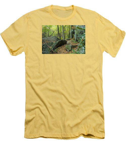 Boulders On The Bear Hair Gap Trail Men's T-Shirt (Slim Fit) by Barbara Bowen