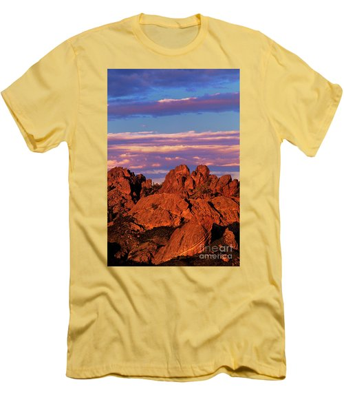 Boulders Sunset Light Pinnacles National Park Californ Men's T-Shirt (Slim Fit) by Dave Welling
