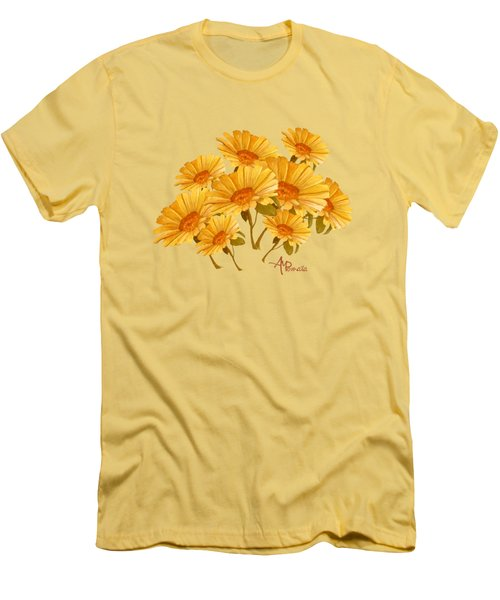 Bouquet Of Daisies Men's T-Shirt (Slim Fit) by Angeles M Pomata