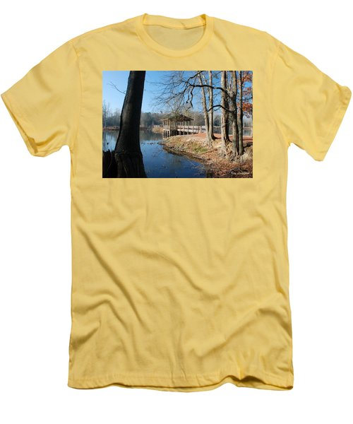 Men's T-Shirt (Slim Fit) featuring the photograph Brick Pond Park by Kay Lovingood