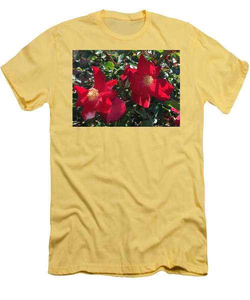 Men's T-Shirt (Slim Fit) featuring the photograph Brilliant Red Roses by Daniel Hebard