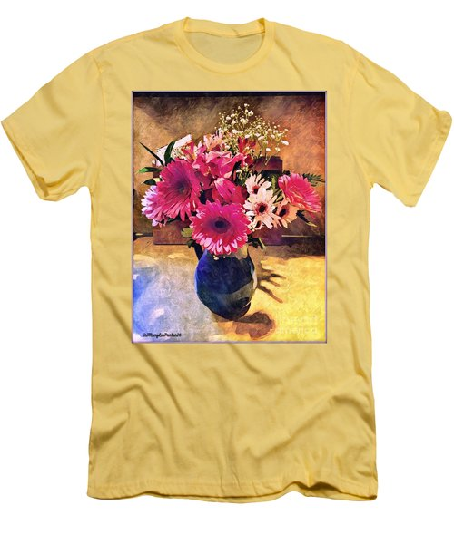 Brithday Wish Bouquet Men's T-Shirt (Slim Fit) by MaryLee Parker