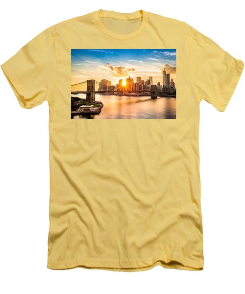 Brooklyn Bridge And The Lower Manhattan Skyline At Sunset Men's T-Shirt (Athletic Fit)