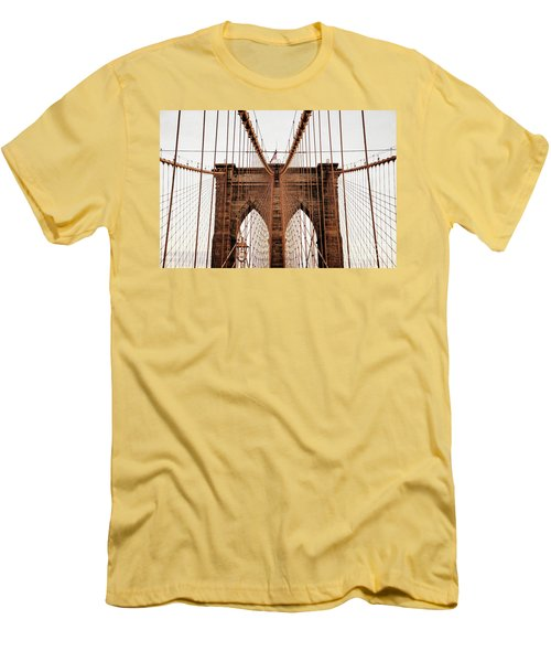 Men's T-Shirt (Slim Fit) featuring the photograph Brooklyn Bridge by MGL Meiklejohn Graphics Licensing